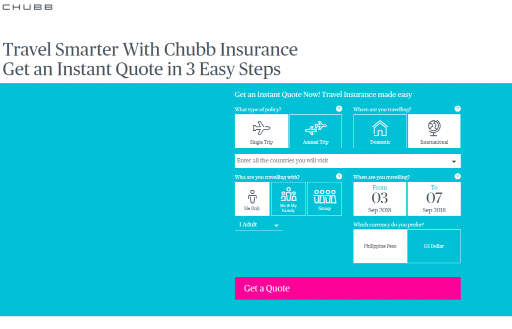 Chubb insurance quote