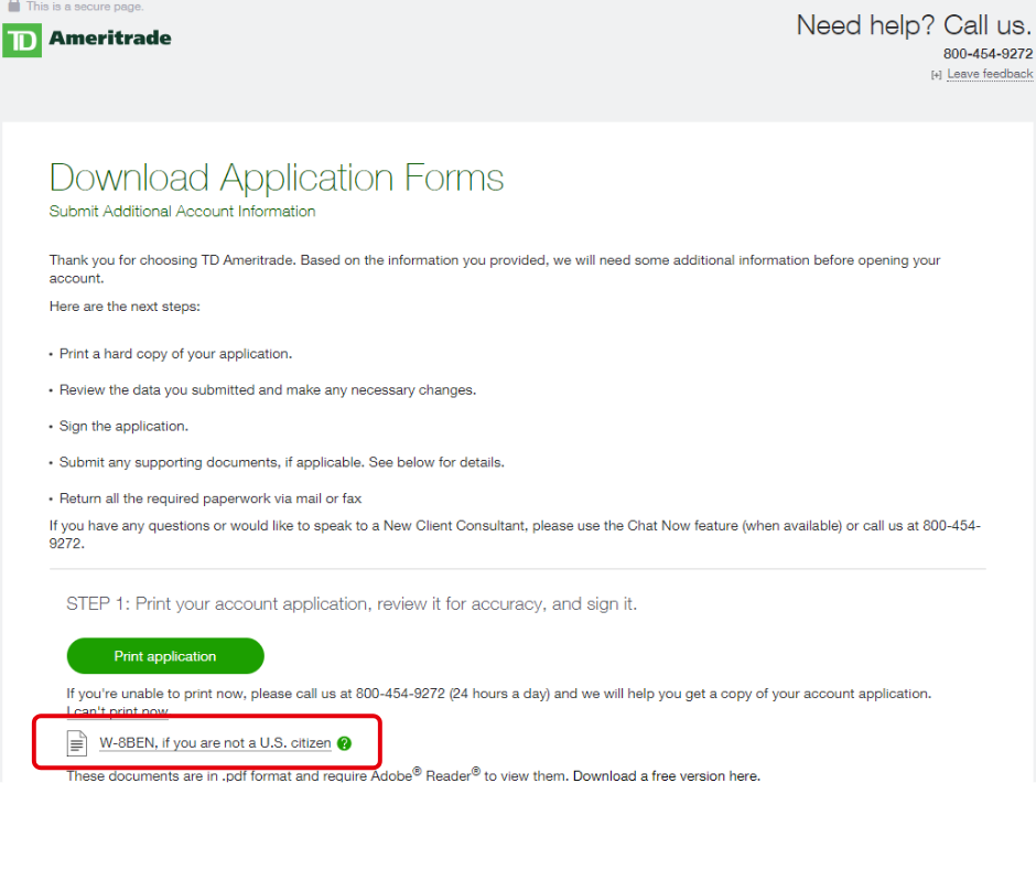 TD Ameritrade application page 11