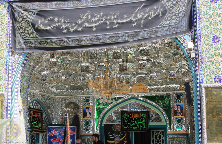 Closeup view of the mosque's mirror work