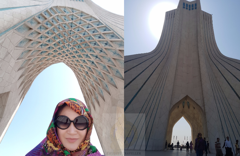 Visitors hanging out under the Azadi Tower Azadi Tower in broad daylight