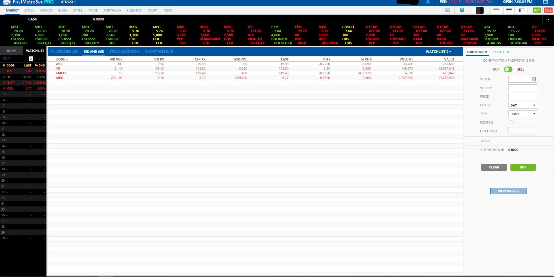 FirstMetroSec Pro Watchlist
