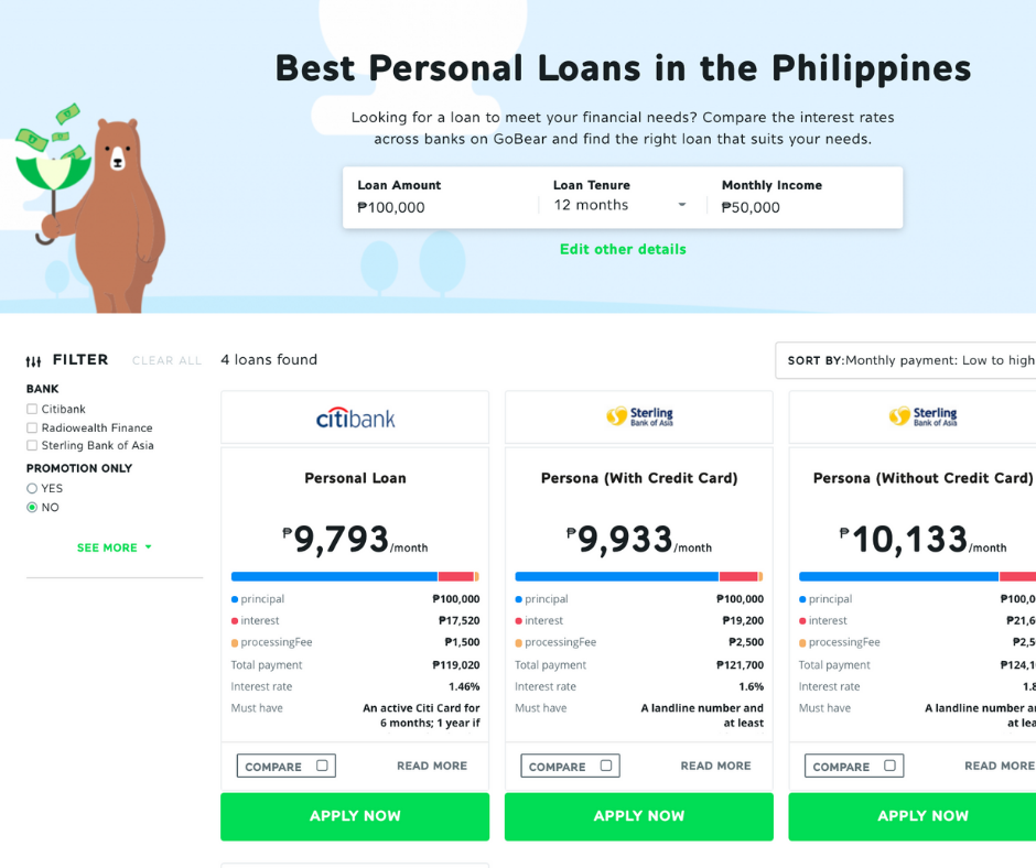 Go Bear Personal Loan page